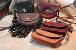 Pebble Leather 5 way Bags with Fringe - BROWN