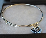 Sterling Silver Bangle with Charms   Large