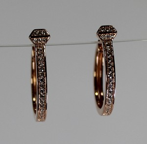 Rose Gold Plated Sterling Silver Horse Shoe Nail Hoop Earrings